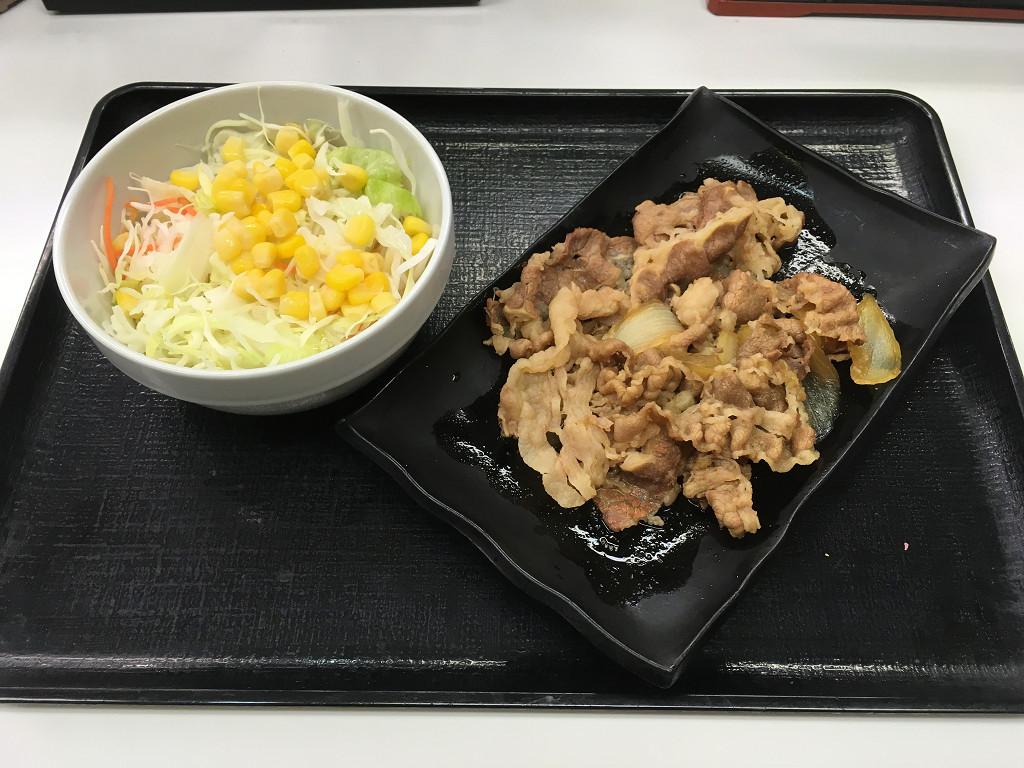 牛皿、生野菜サラダ