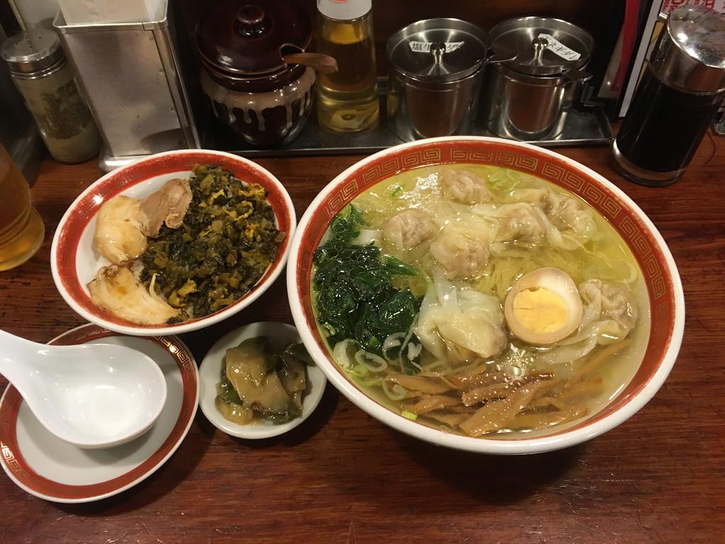 夕食雲呑麺 + 魯肉飯(るうろうめし)