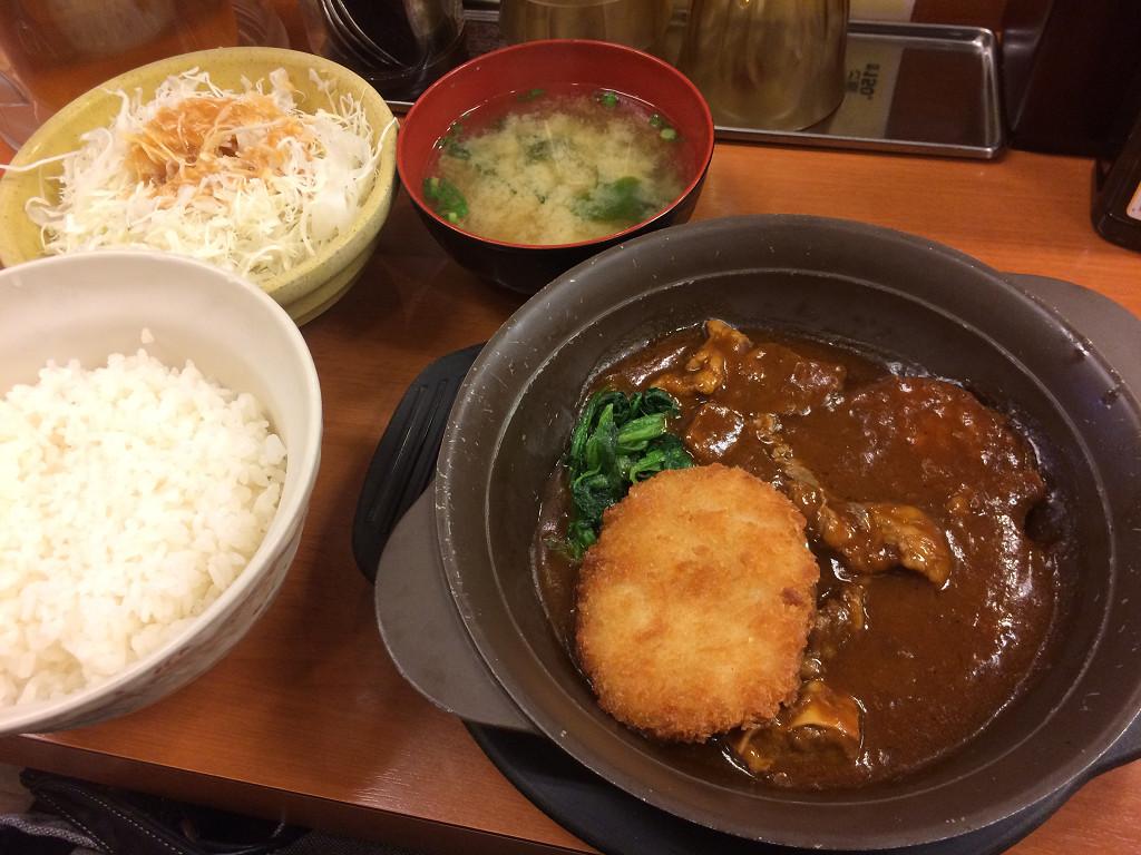 ビーフシチューハンバーグ鉄鍋定食