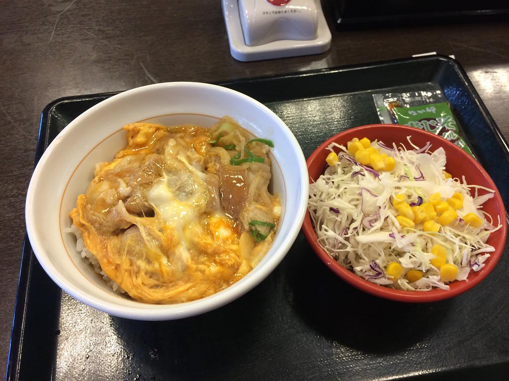 豚生姜丼 並とサラダ