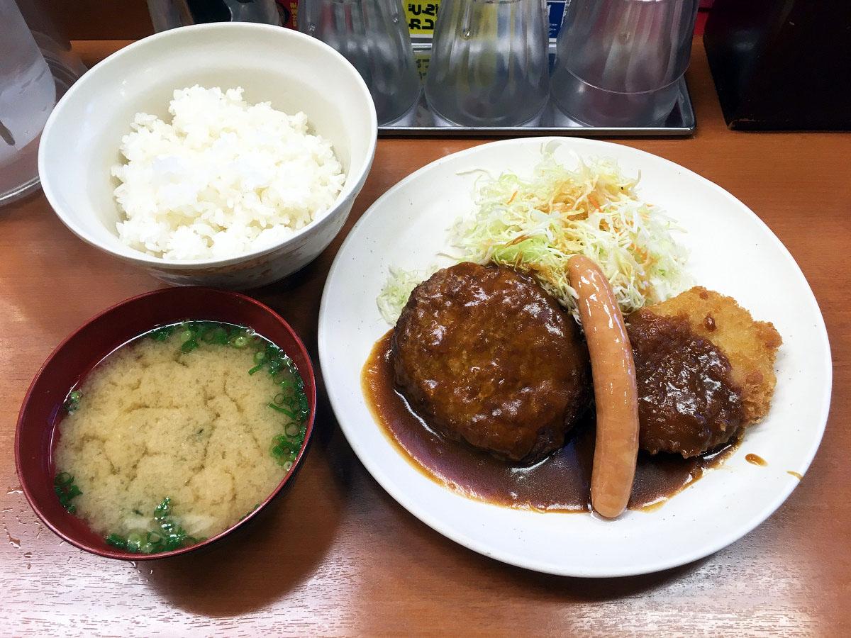 ハンバーグ&コロッケ&ソーセージ定食