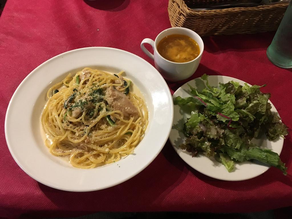 ツナと小松菜のクリームソーススパゲティ