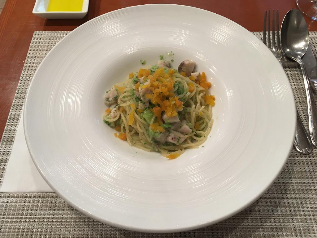 寒鰆とブロッコリー、つぼ漬けのスパゲッティ